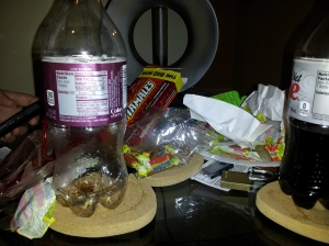 The wreckage from me and the little brother hanging out and enjoying our favorite thing - candy and pizza!!!