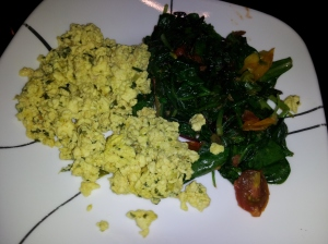 Here's the sauteed greens with the heirloom tomatoes and scrambled egg beaters with fresh basil!