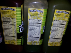 Number one rule - read those nutrition facts!  Look for nothin' but veggies!  These juices are also not pasteurized so all the enzymes stay in tack!  But you also need to remember they don't have a very long shelf life!
