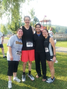 The running Georges (minus Little E!) Beth, Uncle Joe, Pooky & Me!