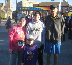 From the Goat:  And...the rest of the running family (again, minus Little E)...Beth Ann, Darren, Phil & Uncle Joe!