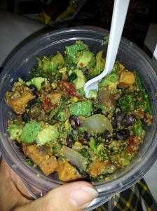 My Southwest Veggie Quinoa bowl from home.  I felt like a weirdo bringing my own food until I ate it and remembered how good my own food is :)