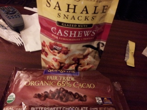 Sahale Vanilla Pomegranted cashews and 65% Cacao Chips.  I can't help it.  I require dessert at all times.