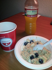 Found some great gluten free oatmeal packs and topped them with almond milk, banana and blueberries!!!  Side of Vanilla Hazelnut tea and electrolyte drink...